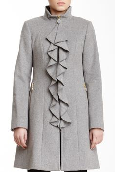 Kendra Cascading Ruffle Wool Blend Coat
