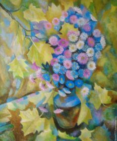 Купить Не то листва, не то струя... - оливковый, картина в подарок, картина, картина для интерьера