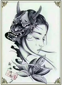 I quite simply like the designs, lines, and fine detail. This is definitely a fantastic choice if you want inspiration for a Japanese Girl Tattoo, Japanese Mask Tattoo, Cool Tattoo Drawings, Tattoo Sketches, Maori Tattoo Designs, Japanese Tattoo Designs, Body Art Tattoos, Girl Tattoos, Sleeve Tattoos