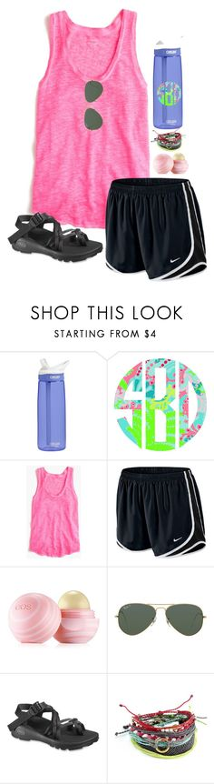 """hiking!!"" by melaniebethc ❤ liked on Polyvore featuring CamelBak, Lilly Pulitzer, J.Crew, NIKE, Eos, Ray-Ban, Chaco and Pura Vida"