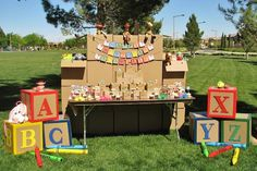 Use card board boxes to make DIY letter blocks kids can stack and play. Or use them to spell out childs name or happy birthday.