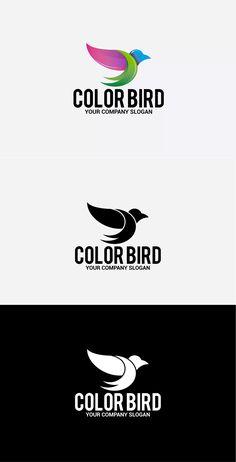 Color Bird Template AI, EPS