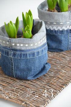 Denim jeans planter covers