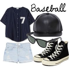 Baseball Game Outfit by snowflake1025 on Polyvore featuring polyvore fashion style MANGO Converse Ray-Ban