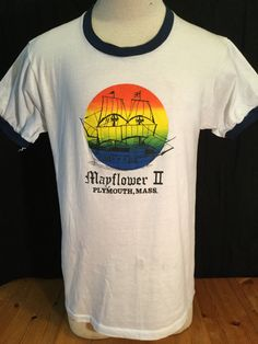 Vintage 1980's Tourist T-Shirt Surf Beach 50/50 Ringer Mayflower II Plymouth Massachusetts by 413productions on Etsy