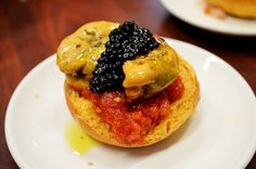 Places (restaurants) to eat in Barcelona - Quimet y Quimet. Montadito with caviar & mussels. Mussels, Eating Well, Caviar, Tapas, Traveling By Yourself, Restaurants, Destinations, Breakfast, Places