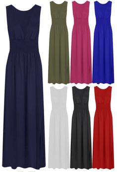 Ladies-Deep-V-Shirred-Maxi-Dress-Womens-Sleeveless-Stretch-Jersey-Dress-8-18