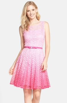 Free shipping and returns on Chetta B Belted Ombré Lace Fit & Flare Dress at Nordstrom.com. A pretty patent belt trims the waist of a lovely fit-and-flare dress made from darling dip-dyed lace.