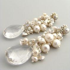 Karen Sugarman Designs - Beloved - Ivory Pearls and Rock Crystal Briolette Earrings Crystal Earrings, Beaded Earrings, Beaded Jewelry, Handmade Jewelry, Cluster Earrings, Jewellery, Statement Earrings, Crystal Beads, Vintage Pearls