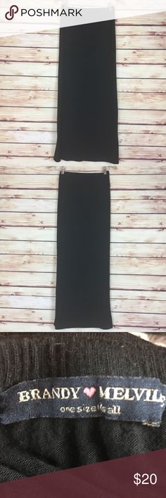 "Brandy Melville Black Maxi Skirt One Size Fits All Brandy Melville maxi skirt. Black. Elastic waist. One size.  Good preowned condition with pilling throughout.  Measurements are approximately: 22"" waist (unstretched), 34"" hips, and 37.5"" length.  57% cotton 40% viscose 3% elastane.  No trades. All items come from a pet friendly, smoke free home. Bundle to save! Brandy Melville Skirts Maxi"