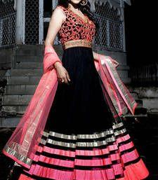 Buy Black embroidered net semistitched salwar with dupatta party-wear-salwar-kameez online
