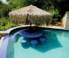 Tiki umbrella in pool
