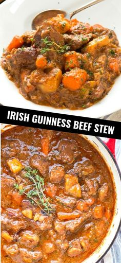 This rich and hearty Irish Guinness Beef Stew is wonderful comfort food on a cold day. Lunch Recipes, Soup Recipes, Dinner Recipes, Healthy Recipes, Beef Steak Recipes, Ground Beef Recipes, Guinness Beef Stew, Slow Cooker Italian Beef, Main Meals