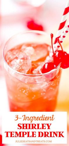 The Shirley Temple Drink is a non-alcoholic drink classic with only three ingredients. It's easy, delicious and everyone loves them. A great party mocktail! Easy Mocktails, Easy Mocktail Recipes, Drinks Alcohol Recipes, Punch Recipes, Cocktail Recipes, Drink Recipes, Smoothie Recipes, Vegan Recipes, Kid Cocktails Non Alcoholic