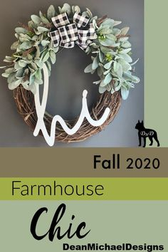 "Buffalo check and lambs ear wreath by DeanMichaelDesigns. Handwritten ""HI"" welcomes guests in style. A bed of soft lambs ear surrounds a chic buffalo plaid bow. Perfect gift for a new homeowner. Perfect wedding gift. Feel free to email DeanMichaelDesigns@gmail.com for more information. Its time to decorate for fall with this farmhouse style beauty. #lambsear #wreath"