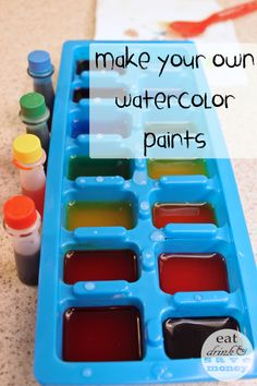 Quick and Easy DIY Watercolor Paint Recipe for Toddlers Make your own watercolor paints. This watercolor paint recipe is quick and easy. It is perfect for toddlers! It makes a small batch which is perfect for testing out painting with kids. Projects For Kids, Diy For Kids, Crafts For Kids, Home Made Paint For Kids, Science Projects, Art Projects, Painting For Kids, Diy Painting, Toddler Crafts