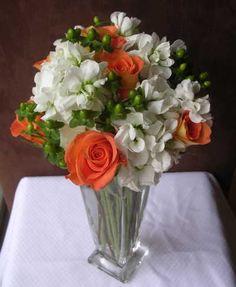 Fall Wedding Flower Arrangement   Modern Flower Arranging - Fall Flowers - Orange and White Flowers