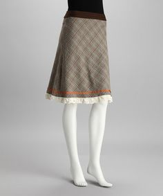 Take a look at this Brown Plaid Lace Skirt by Neesh by D.A.R. on #zulily today!