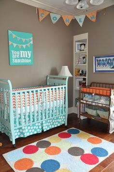 Orange and aqua nursery http://nolaschaff310.blogspot.com/2012/08/cohens-nursery-re-do-after.html?m=1
