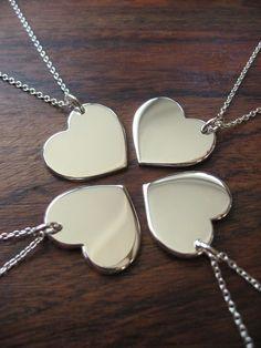 Four Silver Hearts, Best Friends Necklaces Pendants. £80.00, via Etsy.