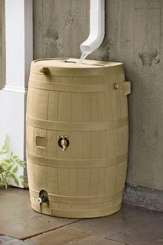 Flat-Back Rain Barrel, Tan