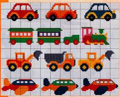 Vehicles cross stitch.