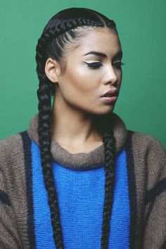 two rows, cornrows . Easy casual hair style