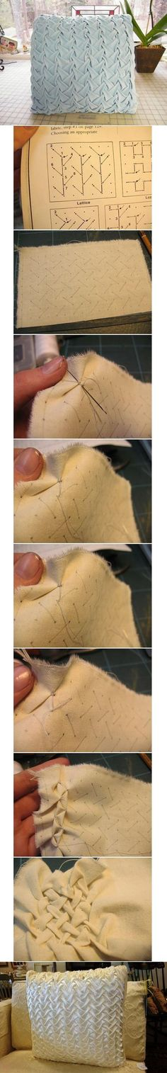 DIY Tutorial: DIY Pillow Shams / DIY Three-dimensional Pattern Pillowcase - B .DIY Tutorial: DIY Pillow Shams / DIY three-dimensional pattern pillow case - Bead & funny DIY pillowsDIY pillows and fun pillow projects Smocking Tutorial, Smocking Patterns, Sewing Patterns, Diy Tutorial, Cushion Tutorial, Pillow Tutorial, Fabric Crafts, Sewing Crafts, Sewing Projects