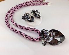 Kumihimo crystal jewellery black crystal pendant with black pink kumihimo necklace &earrings on Etsy, £74.00