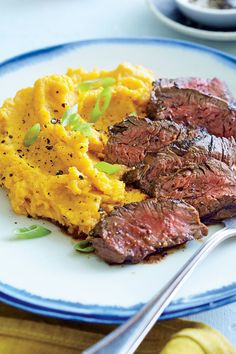 "Chipotle Hanger Steak with Sour Cream Mashed Sweet Potatoes | ""If you loved grandma's hamburger steak suppers growing up, this grown up version is guaranteed to make you cheer. It has all the comfort-style food you crave in a more attractive, satisfying package."" #allrecipes #comfortfood #comfortfoodrecipes"