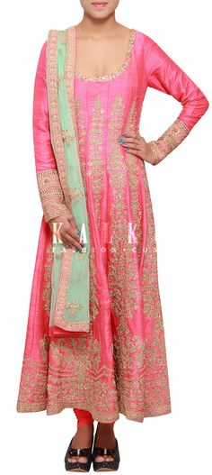 Buy Online from the link below. We ship worldwide (Free Shipping over US$100) http://www.kalkifashion.com/pink-anarkali-suit-embellished-in-zari-embroidery-only-on-kalki.html