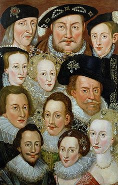 Tudor and Stuart Royals, a painting at Leeds Castle    Henry VII; Henry VIII; Edward VI; Mary I; Elizabeth I; James I; Henry, Prince of Wales; Charles I; Anne of Denmark; Frederick V, King of Bohemia; Elizabeth, Queen of Bohemia