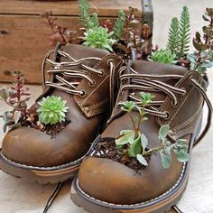 Find Your Repurpose: Green Crafts Projects – Indoor Garden Nook Find Your Repurpose: Green Crafts Projects Repurpose worn-out work boots into a cute planter. Check out the article for more ways to repurpose old items into fun crafts! Garden Nook, Garden Art, Garden Design, Garden Kids, Garden Cottage, Garden Living, Garden Planters, Succulents Garden, Succulent Planters