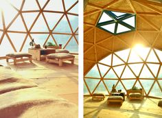This geodesic dome floating city looks awesome! Sunny, rustic, green.