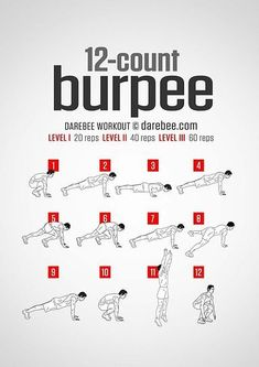 One burpee to beat them all. This is a super-set of the classic burpee exercise. The twelve-step program to the perfect burpee set can be practiced anywhere you have a little bit of floor space, making this the perfect exercise routine to have with. Boxer Workout, Gym Workouts For Men, Full Body Workout Routine, Body Workout At Home, Gym Workout Tips, Chest Workouts, Workout Challenge, At Home Workouts, Burpee Challenge