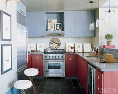 In the kitchen of a New York City apartment designed by Thom Filicia, the floor is paved in slate tile.