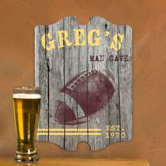 Score a touchdown with this personalized gift for the fan of the gridiron. Your football fan will proudly display this Vintage Personalized Football Tavern Sign in his home bar, man cave, den or office. A weathered football image sits on a chalkboard background, giving an authentic tavern feel without the messy chalk! #heartdeeds #man #cave #cute