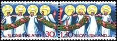 Joulupostimerkkipari 1986 - Enkelit Christmas postage stamp pair 1986 - Engels