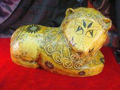 Vintage Original Gemma Taccogna Mexican Folk Art Paper Mache Lion Statue Signed | eBay