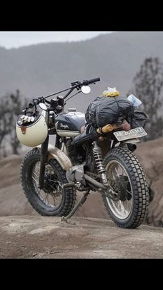 Pack your shit, let's go. loading up the Honda Tracker Motorcycle, Motorcycle Camping, Scrambler Motorcycle, Cool Motorcycles, Vintage Motorcycles, Honda Scrambler, Cafe Racer Bikes, Cafe Racers, Hot Bikes