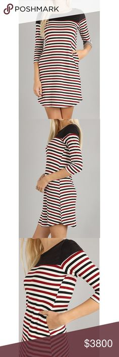COMING SOON! Burgundy Striped A-Line Dress 96% Rayon 4% Spandex (contrast fabric is 92% Polyester 8% Spandex). No trades. Dresses Mini