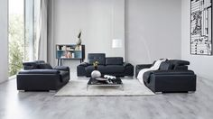 Bronte Leather Sofa Suite 3 + 2 + 1 - Lounge Life