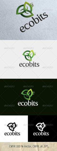 Ecobits — Photoshop PSD #logo #nature • Available here → https://graphicriver.net/item/ecobits/4823597?ref=pxcr