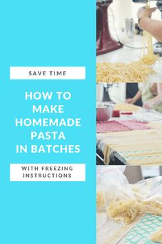 Learn how to batch cook and freeze pasta.  #pasta Healthy Freezer Meals, Make Ahead Meals, Homemade Pasta, How To Make Homemade, Filled Pasta, Pasta Machine, Whole Wheat Pasta, Fresh Pasta, Batch Cooking