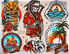 Tattoo Flash Prints by DavisRiderPrints on Etsy Tattoo Sketches, Tattoo Drawings, Print Tattoos, Tattoo Ink, Henna Tattoo Hand, Hand Tattoos, Xoil Tattoos, Octopus Tattoos, Tattoo Forearm