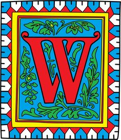 Illuminated letter W from illuminated colouring