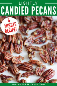 Lightly Candied Pecans with a kiss of brown sugar, salt and butter, perfect for snacking, gifting, or topping salads! (This is a egg FREE recipe!) I love to make a little dish of these for the Christmas season or to munch on while waiting for the turkey to be done on Thanksgiving. They are also a real treat with carrot cake on Easter! This is also a great way to make a homemade gift that everybody loves to give! #saladtopping #christmassnacks #homemadegift #nuts #pecans #eggfree Quick Recipes, Sweet Recipes, Delicious Recipes, Pecan Recipes, Baking Recipes, Vegetarian Recipes, Easy Snacks, Easy Meals, Good Food
