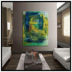 "Minimalist ORIGINAL LARGE paintings Green abstract art Modern Artwork Textured Palette KNIFE Oversize large artwork size 52"" x 32"""