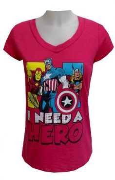 Marvel Comics Avengers I Need A Hero Tee Shirt, $17 This is just the tee you need if you are on the hunt for a hero! This 100% cotton t-shirt features the Marvel Comics Avengers favorites Iron Man, Captain America and Thor and states I Need A Hero. The tee is hip length with v-neck styling. Junior cut. Totally awesome!