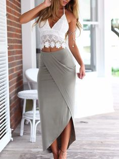 Romwe Halter Backless Lace Top With Wraped Skirt